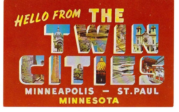 Hello From The Twin Cities 1960s Postcard Unused Minneapolis