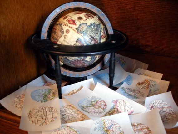 Handmade Vintage Atlas Map Stickers -One Hundred 1-1/2 Inch Stickers
