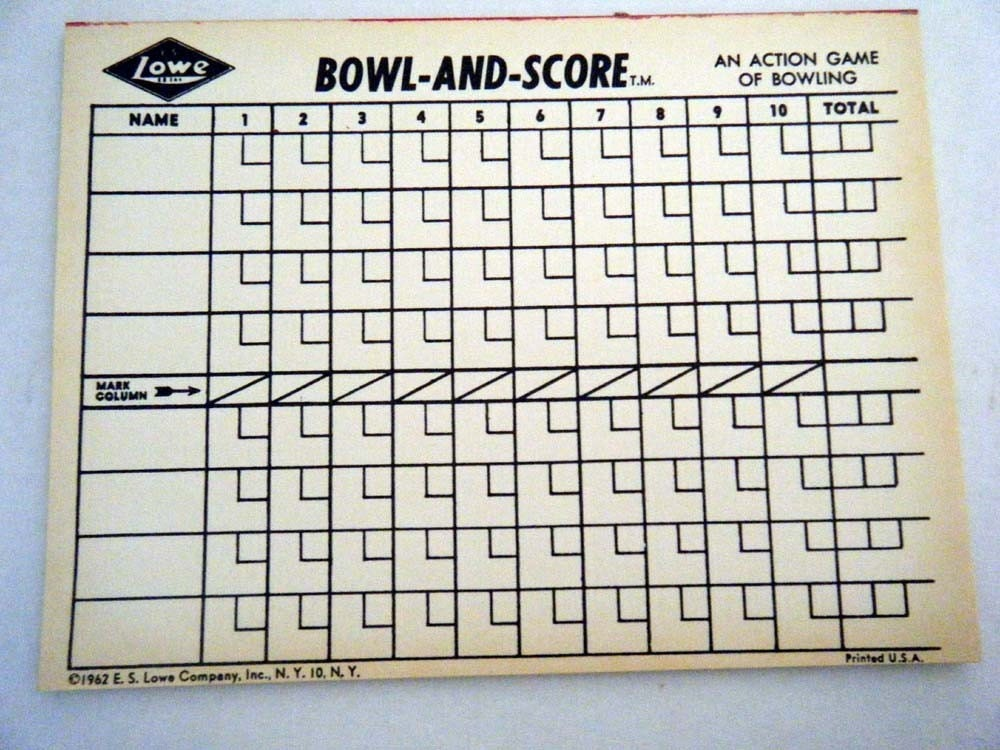 1960s bowling game score pad with 15 sheets for mixed media. Black Bedroom Furniture Sets. Home Design Ideas
