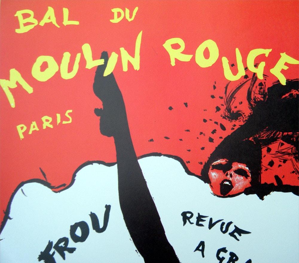Moulin Rouge Frou Frou Revue Folies Bergere Vintage Poster