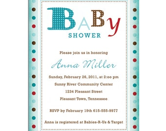 Baby Alphabet Shower Invitations PRINTABLE PDF ONLY