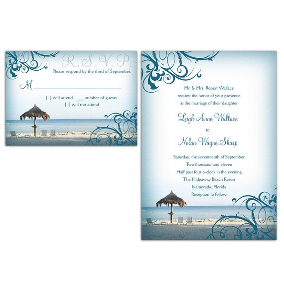 Beach Wedding Invitations and RSVP cards (Set of 30)