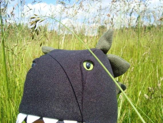 Dinosaur Hat, black fleece with green spikes