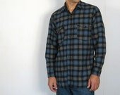 Vintage 1970s Pendleton RUGGED Wool Plaid Shirt M