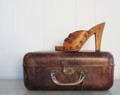 Vintage 1970s Sbicca Studded Wood Heels 7.5