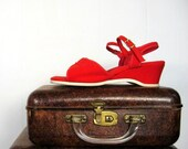Vintage 1960s Cherry Red Canvas Wedges 7