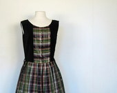 sale Vintage 1950s Edinburgh Ball Plaid Velvet Dress M