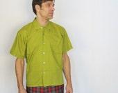 Vintage 1960s Men's Oxford Shirt Avocado Deadstock L