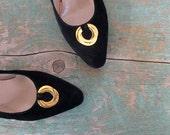 Vintage Ferragamo Shoes / 80s Pumps / Black Nubuck / 7 1/2 B
