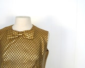 Vintage Bow Blouse / 1960s / Gold Checkerboard / Adolphe Zelinka / M