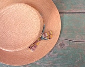Vintage Straw Boater / 1950s Hat / Striped Ribbon