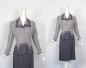 Lilli Ann Suit / 1940s / Gray Chevron Stripe / 40s Suit / S M
