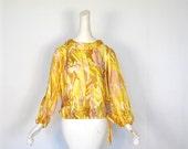 Vintage 1960s Blouse / Golden Days / Blouson Top / M