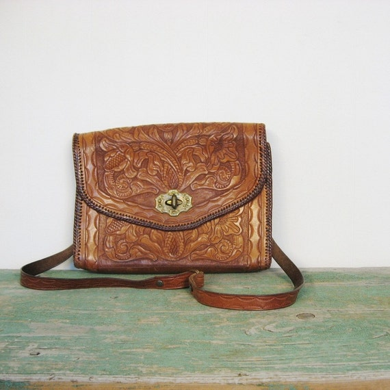 Vintage Tooled Leather Cowgirl Purse