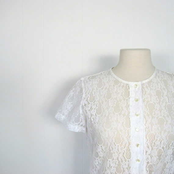 White Lace Blouse / 1960s 60s / M
