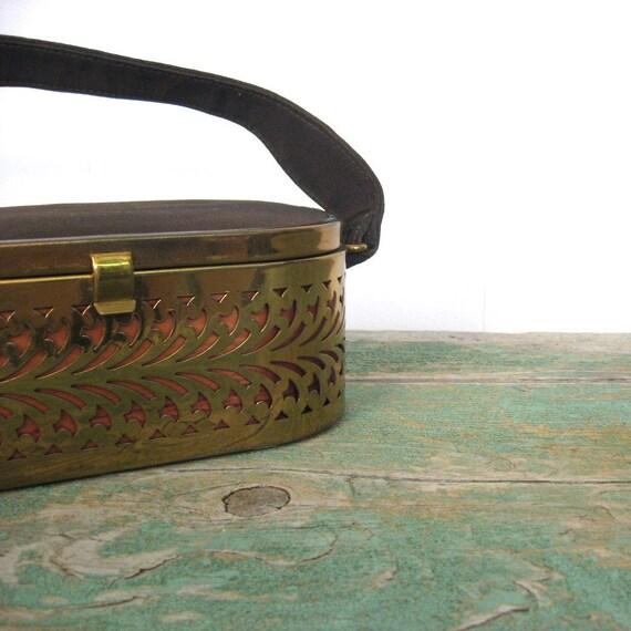 50s Box Purse / Brasstone Filigree Purse / Empress