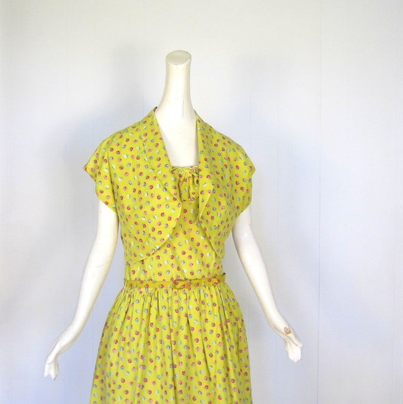 1950s Sundress Set / Saffron Rose Print / 50s Dress and Bolero / L