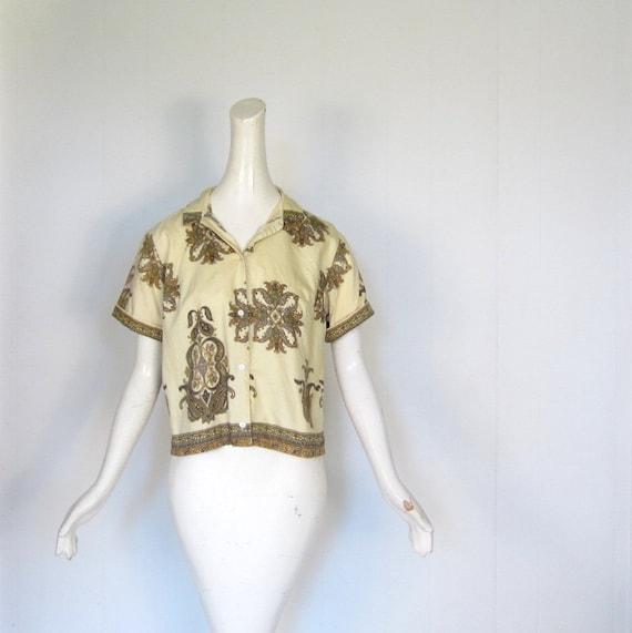 Vintage 50s Blouse / Paisley Rococo / 1950s Blouse / L