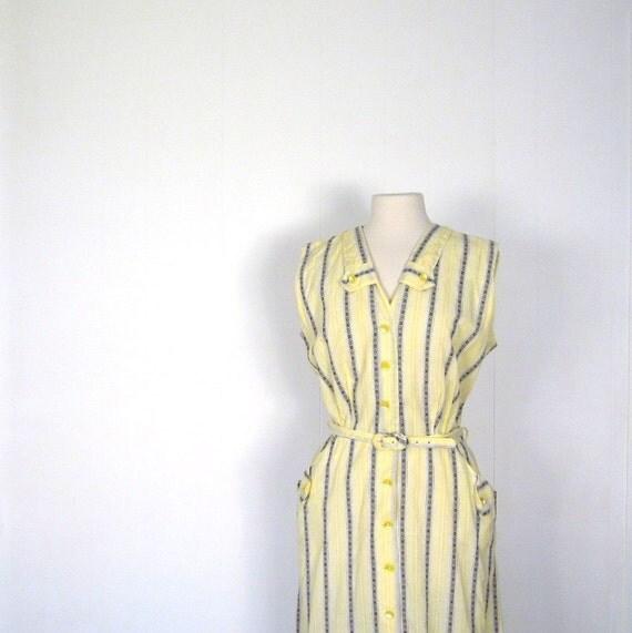 1950s Day Dress / Yellow Stripe / 50s Dress / L XL