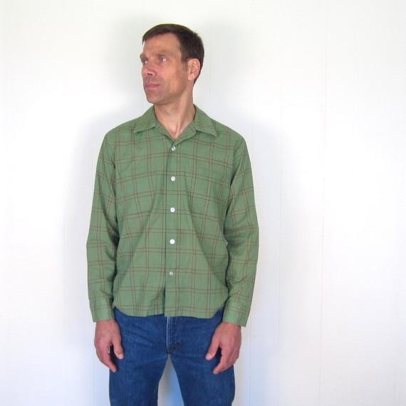 1960s Mens Shirt / Green Plaid Shirt / M