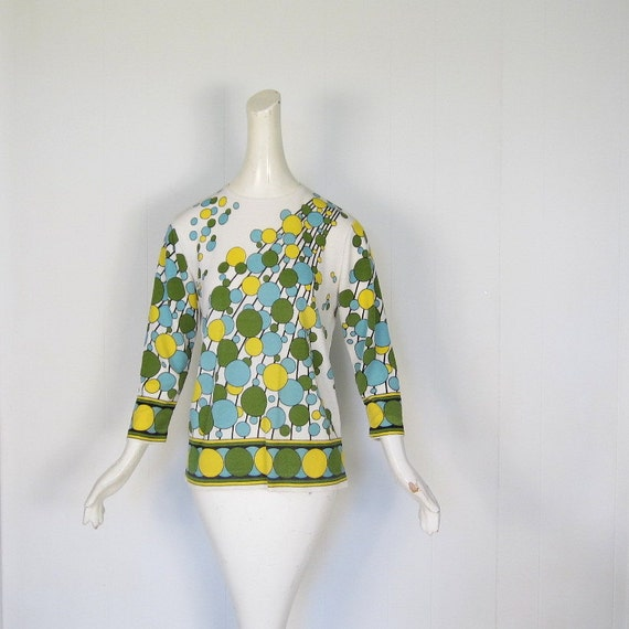 Deco Bubbles Top / 60s Shirt / Mod Top / M L