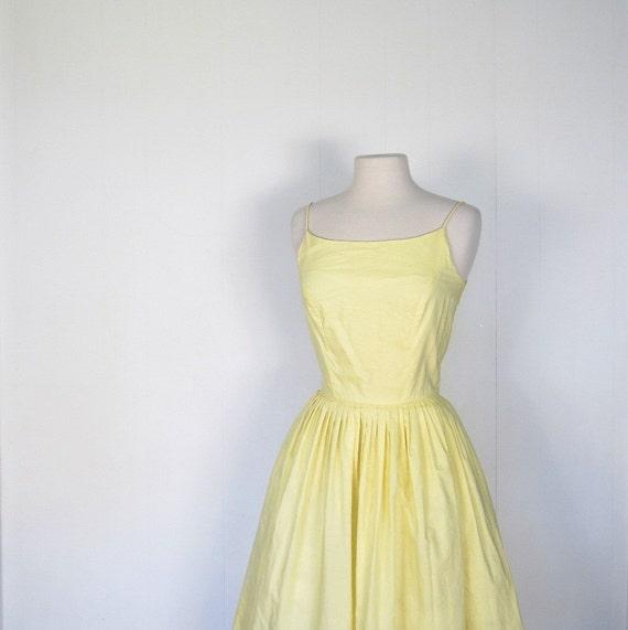 Vintage 1950s Sundress / Buttercup Yellow / 50s Dress / XS