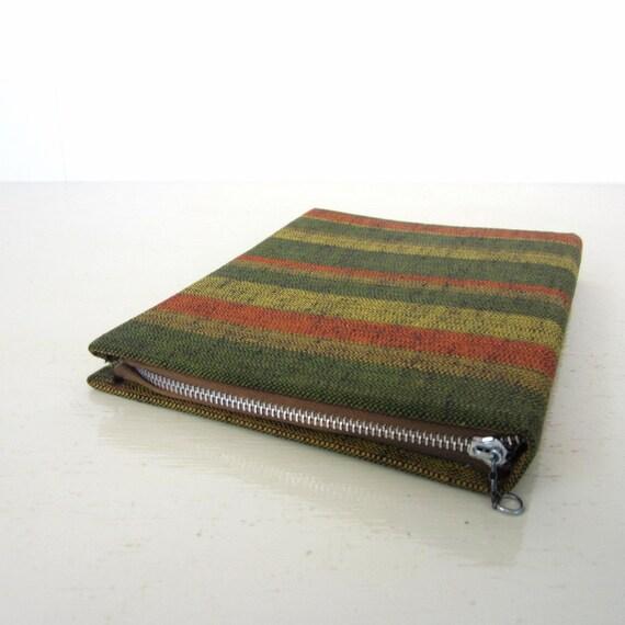 Vintage Fabric Notebook / 1950s Portfolio / Citrus Stripe
