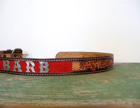 Tooled Leather Belt / Cowgirl Barb / Western Belt / 32