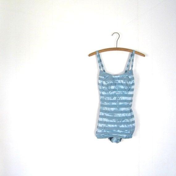 Vintage 1950s Swimsuit / Catalina / Ice Blue Stripes / 50s Bathing Suit