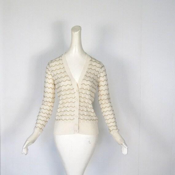 70s Cardigan Sweater / Gold Chevron Stripe / Pointelle Cardigan / S M