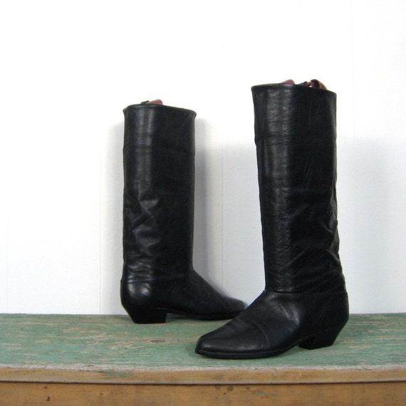Black Leather Boots / Dexter / 1980s / 6 M
