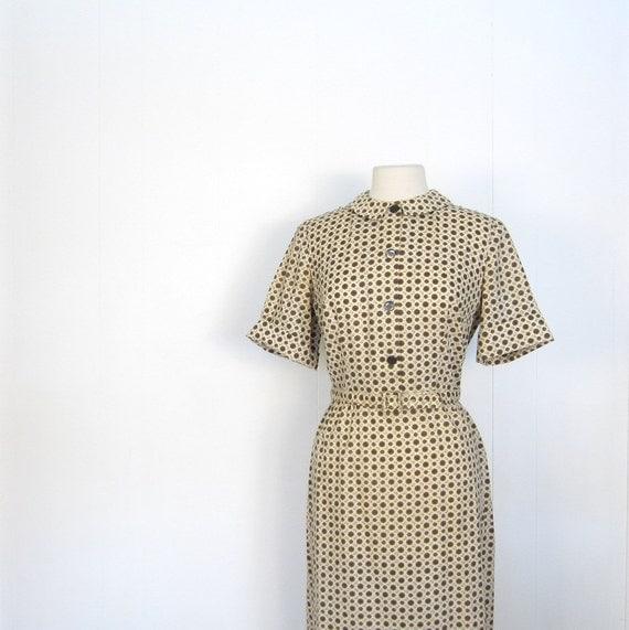 1950s Dress / 50s Shirtwaist Dress / Large L / Espresso Alfresco