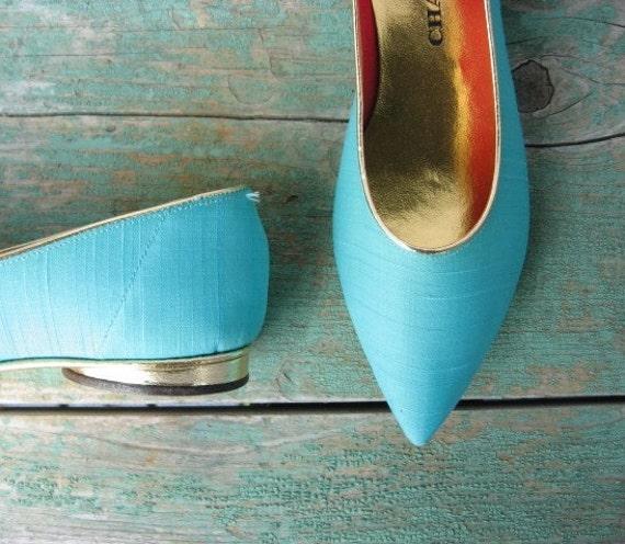 Vintage 1960s Turquoise HAREM Flats DeadStock