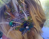 Couture Peacock Plumage Feather Vintage Hair Accessory/Headband