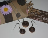 Chocolate Frosted Donut Neckalce And Earring Set