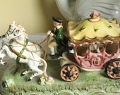 Victorian Enesco Carriage 50's Glazed Porcelain, Rare Colonial Horses Collectable, Imported from Japan