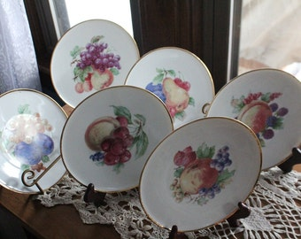 Bareuther & Co. Porcelain Plate with Fruit, Bavaria, Germany