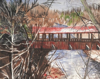 Covered Bridge, Watercolor Painting on Paper, Orginal Artwork