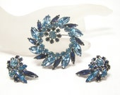 Sherman dark and light aqua blue brooch and earring set
