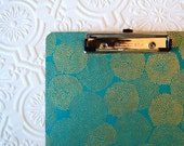 teal with gold mums, decorative clipboard, single sided