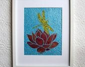 dragonfly lotus flower hand cutout collage, original artwork
