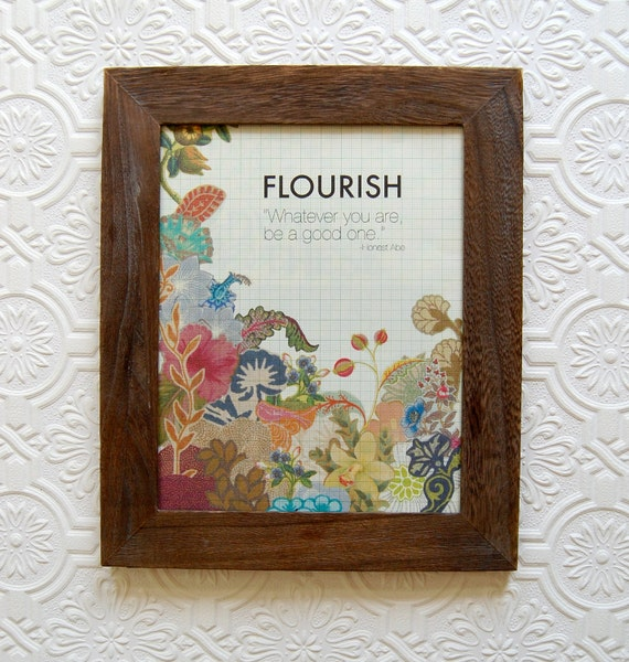 flourish, handmade collage print on vintage graph paper, 8x10