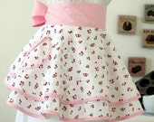 Double PERFECT CIRCLE Hostess Apron in Cherries on White Print with Free Gift Bag