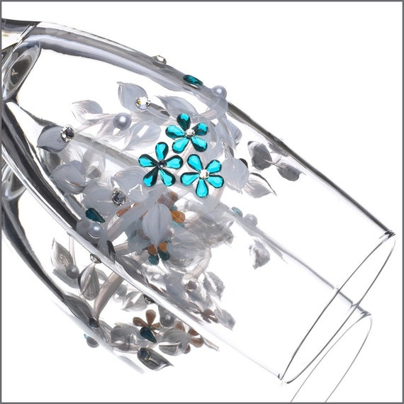 Wedding Aqua Blue Flutes - Set of Two Sparkly Flower Champagne Glasses, Toasting Flutes, Wedding Champagne Flutes