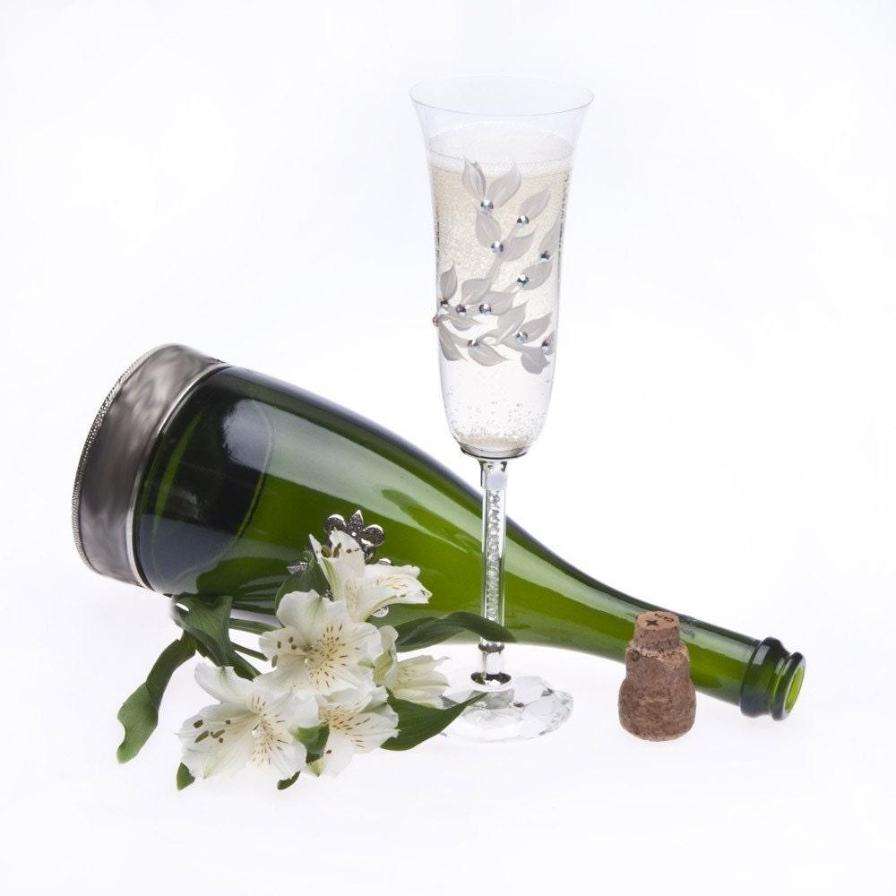 Hand Painted Swarovski Crystal Stem Champagne Flutes Set Of
