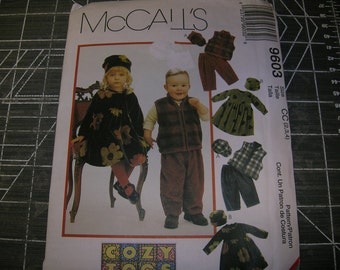 McCalls 9603 Childs Girls and Boys Cozy Togs Pattern Sizes 2-4 UNCUT