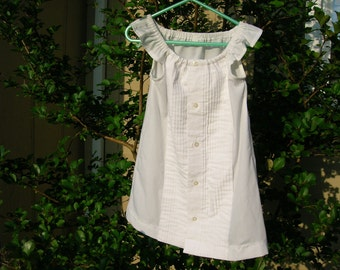 """Sale OOAK """"Just Like Daddy""""  Upcycled Peasant Dress made from a White Formal men's shirt Size 2"""
