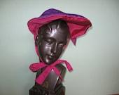 Antique Bonnet Victorian purple and pink
