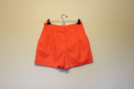 NOS 70s 80s high waisted hot shorts neon coral, salmon, melon sherbet