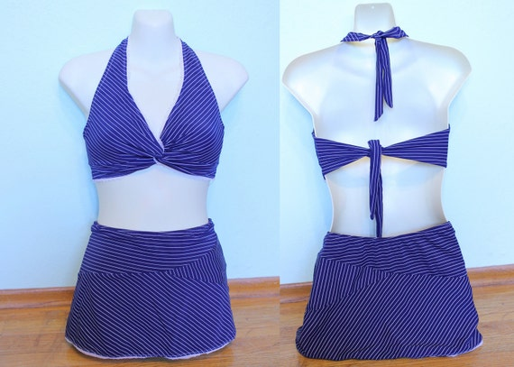 pinup nautical rockabilly pinstripe 2 piece halter bikini and skirted bottom